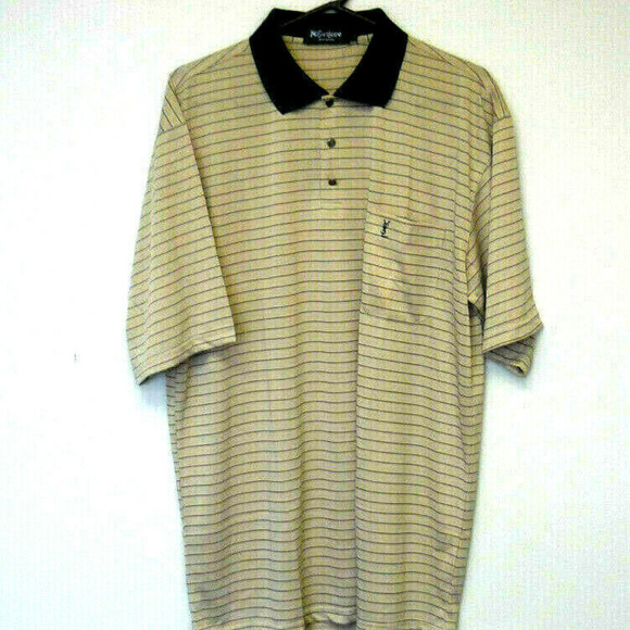 49b4e8bce8b Yves Saint Laurent 100% Silk Striped Polo Shirt XL